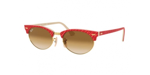 Ray-Ban CLUBMASTER OVAL RB3646 130851 Textured Red on Beige