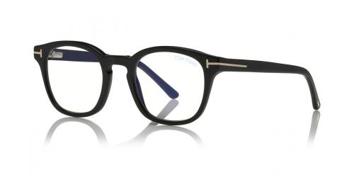 Tom Ford Tom Ford TF5532-B Blue Control with Clip On Sunglasses TF 5532-B 01V Shiny Black/Blue