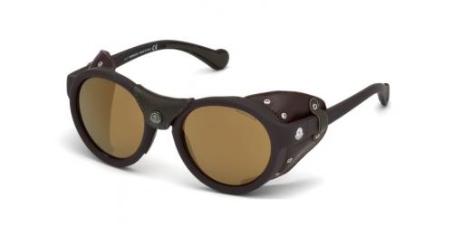 Moncler ML0046 49L Matte Dark Brown/Roviex Mirror