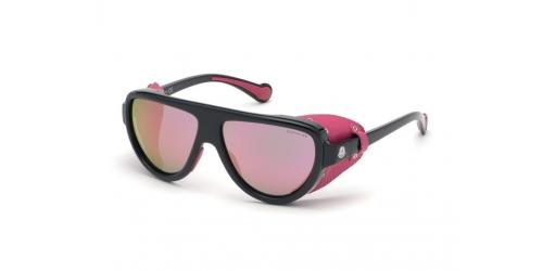 Moncler ML0089/S ML 0089/S 01Z Shiny Black/Gradient Violet Mirror